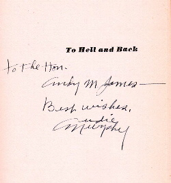 The autographed title page of TO HELL AND BACK. Image provided by Georgia James.
