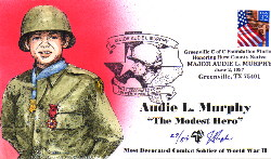 Hand painted cachet honoring Audie Murphy. Image provided by Julian Pugh, cachet artist.