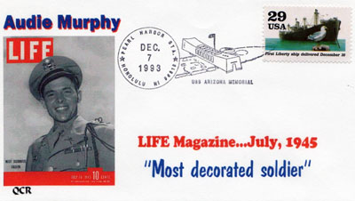 Cachet honoring Audie Murphy. Image provided by Betty Tate. Click image for a larger view.