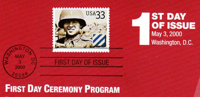 souvenir program from the first day dedication ceremony for the Audie Murphy Commemorative Stamp. Images provided by Betty Tate. Click image for a PDF version of the entire program.