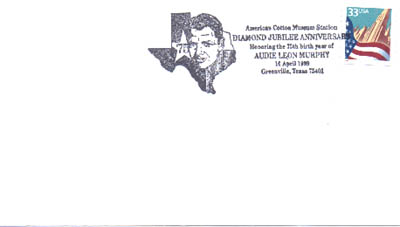 April 10, 1999 Audie Murphy Stamp Cancellation.