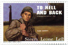 Sierra Leon stamp honoring Audie Murphy issued 1991.