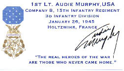Medal of Honor Recipient Card for Audie Murphy.