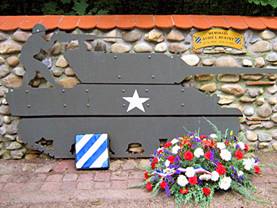 Memorial dedicated to Audie Murphy by the citizens of Holzwihr, France.