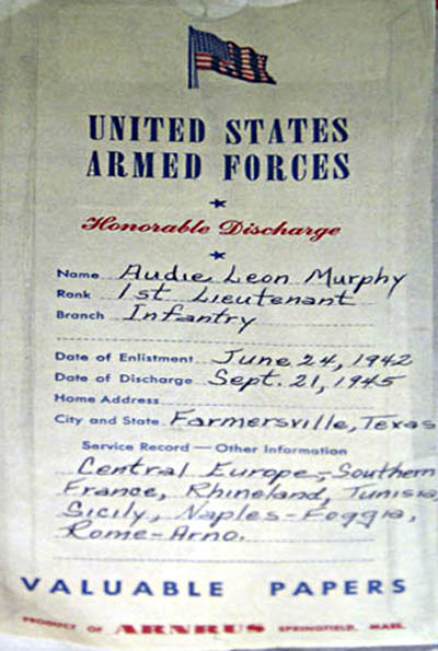 Paper jacket for discharge papers of Audie Murphy.