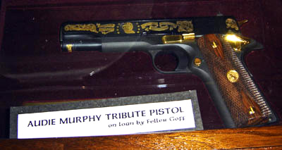 A collector's Audie Murphy Tribute .45 Caliber pistol on loan by his friend Feller Goff.