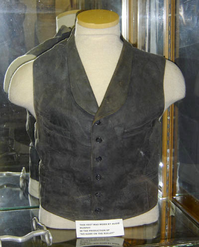A leather vest worn by Audie Murphy in one of his western movies.