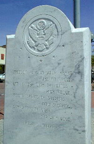 Rear of Farmersville, Texas stone marker dedicated to Audie Murphy.