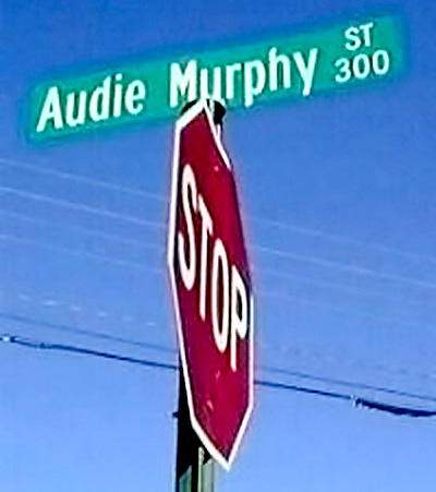 Audie Murphy road sign.
