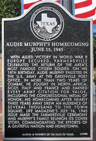 Texas Historical marker commemorating Audie's homecoming parade, June 15, 1945 at Farmersville, Texas. Photo source: http://www.texasescapes.com