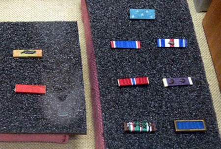 Military ribbon display of Audie Murphy.