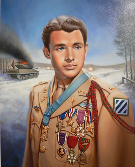 Oil portrait of Audie Murphy at the National Infantry Museum, Fort Benning, Georgia.