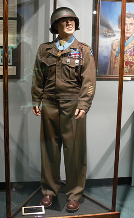 Military uniform display of Audie Murphy at the National Infantry Museum, Fort Benning, Georgia.
