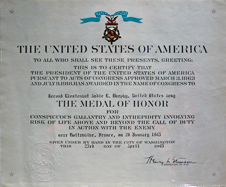 Medal of Honor certificate of Audie Murphy on display at the Smithsonian Museum of American History.