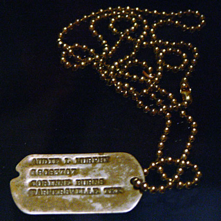 Audie Murphy's World War II dog tags on display at the Smithsonian Museum of American History.