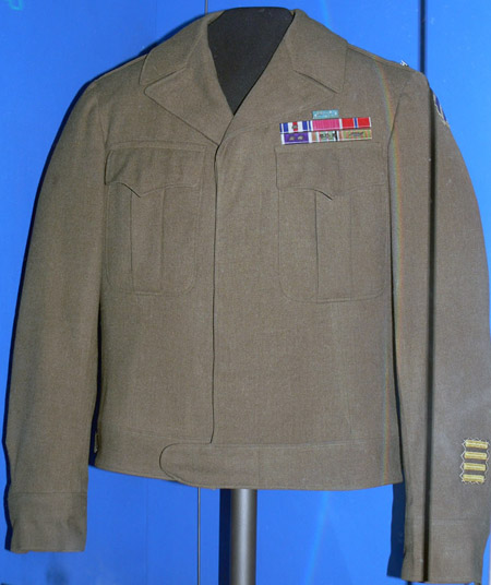 Audie Murphy's military Eisenhower style jacket on display at the Smithsonian Museum of American History.