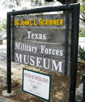 Front entrance sign, Texas Forces Museum. Photographer: Jim Schmidt. Photo Source: