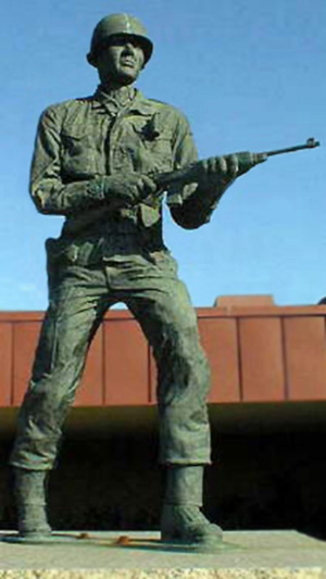 Cast bronze sculpture of Audie Murphy outside the Texas Forces Museum, Camp Mabry, Austin, Texas.
