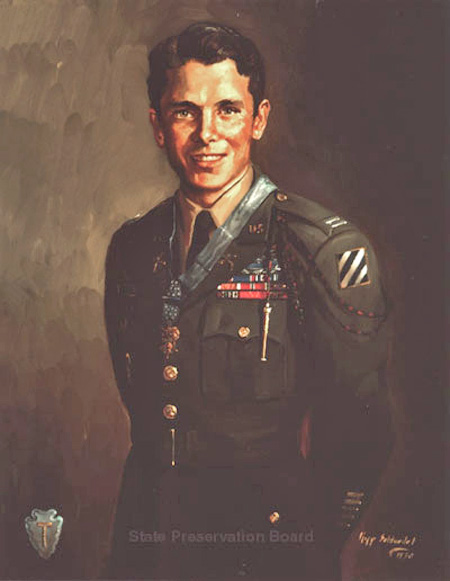 Kipp Soldwedel painting of Audie Murphy. Photo Source: Texas State Preservation Board. Photo used with written permission.