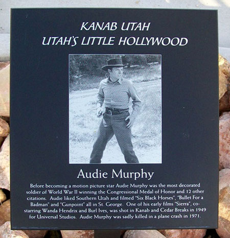 Audie Murphy's Walk of Fame marker, Kanab, Nevada.