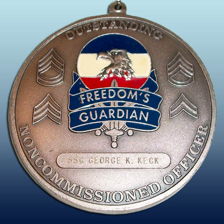 FORSCOM Sergeant Audie Murphy Neck Medallion. Rear view. Image provided by George Keck.