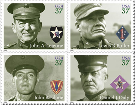 "Marine Corps service members Gunnery Sergeant John Basilone, Sergeant Major Daniel ""Dan"" Joseph Daly, Lieutenant General John A. Lejeune, and Lieutenant General Lewis B. ""Chesty"" Puller. Issued 10 November 2005."