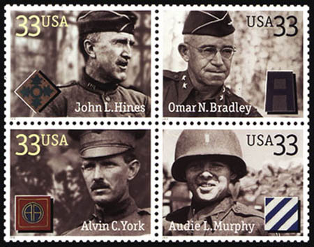 Distinguished Military Service Member Commemorative Stamp Series honoring Army service members Audie L. Murphy, Alvin C. York, General John L. Hines, and General Omar Bradley. Issued 3 May 2000.