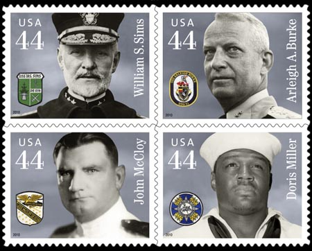Distinguished Military Service Member Commemorative Stamp Series honoring Navy service members Vice Admiral William S. Sims, Admiral Arleigh A. Burke, Lieutenant Commander John McCloy, and Petty Officer Doris Miller. Issued February 4, 2010.